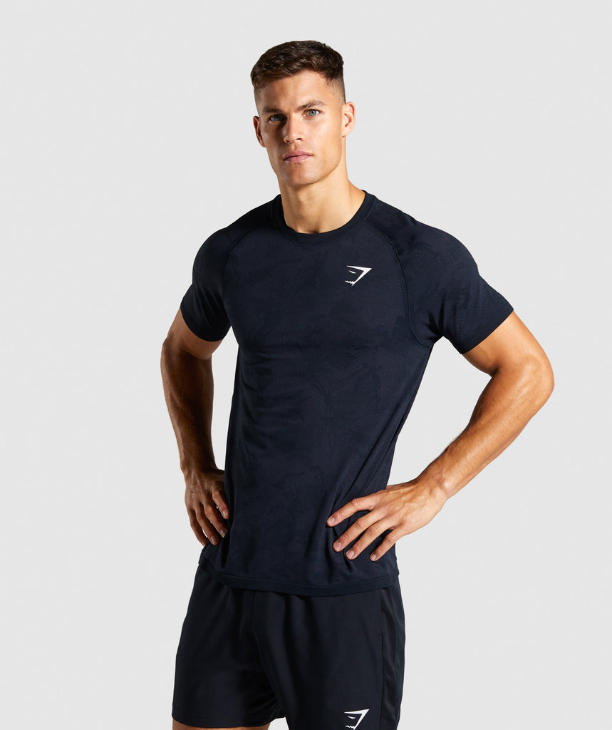 Gymshark Geo Lightweight Seamless T-Shirt - Black 1
