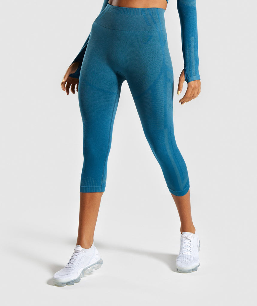 Gymshark Geo Seamless Cropped Leggings - Teal 1