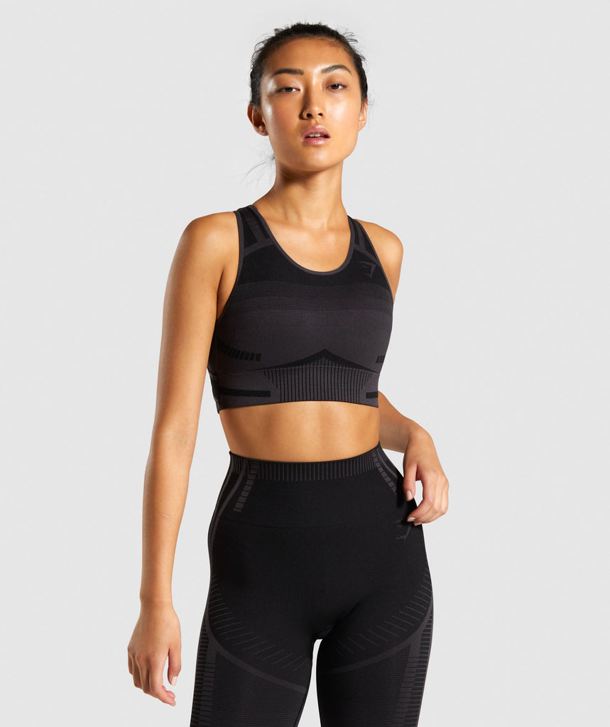 Gymshark Geo Seamless Sports Bra - Black 1