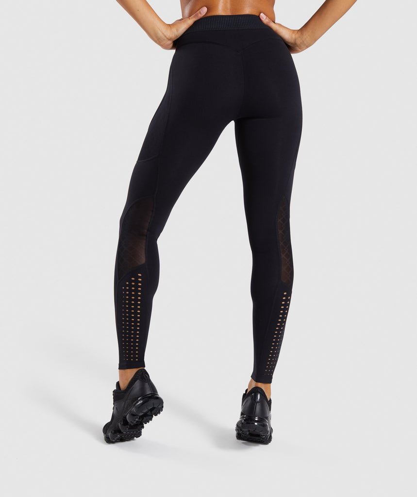 Gymshark Geo Mesh Leggings - Black 2
