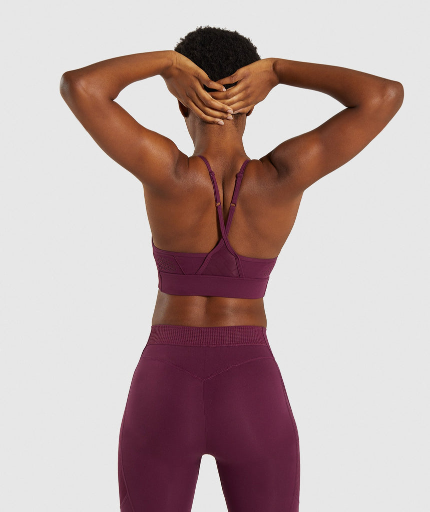 Gymshark Geo Mesh Sports Bra - Dark Ruby 2