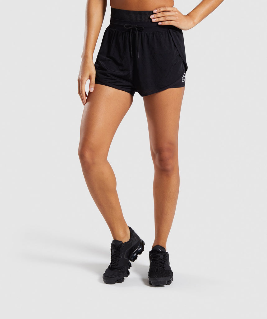 Gymshark Geo Mesh Two In One Short - Black 1