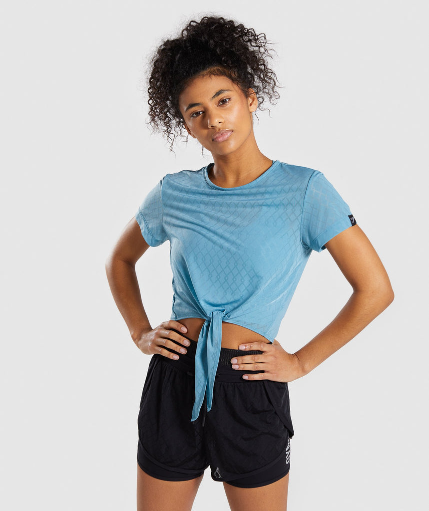 Gymshark Geo Mesh Two In One Top - Dusky Teal 1