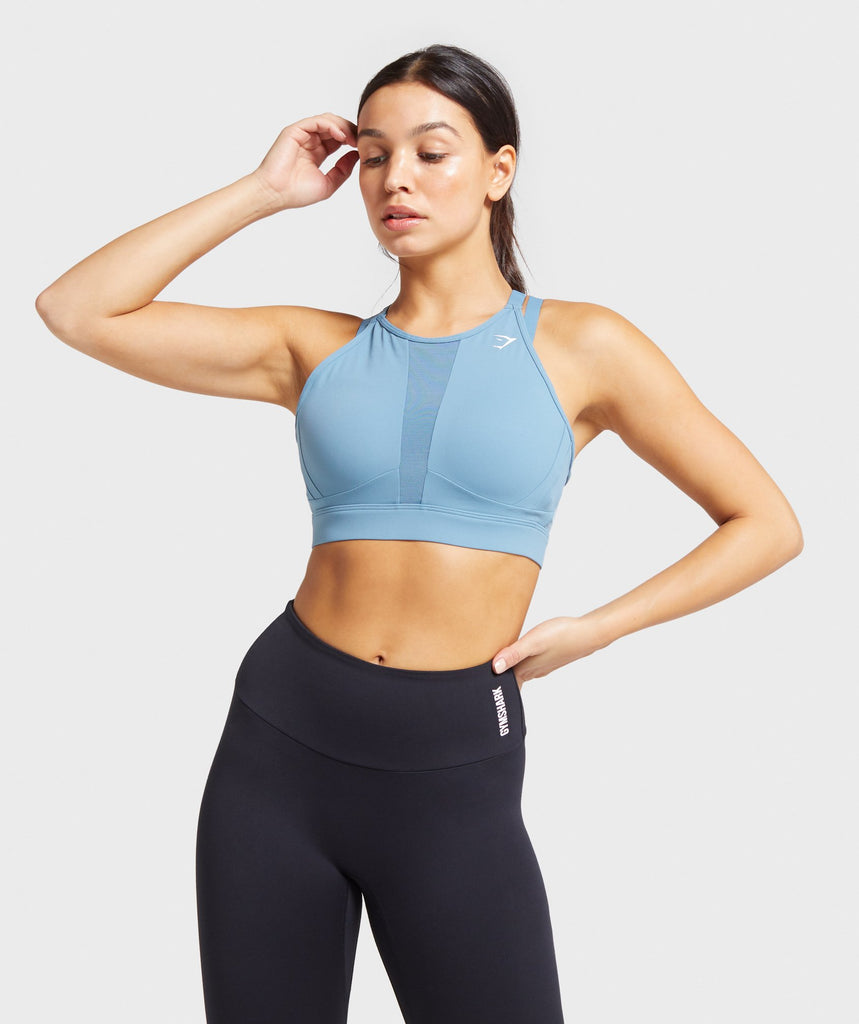 Gymshark Mesh Neckline Training Sports Bra - Blue Stone 1