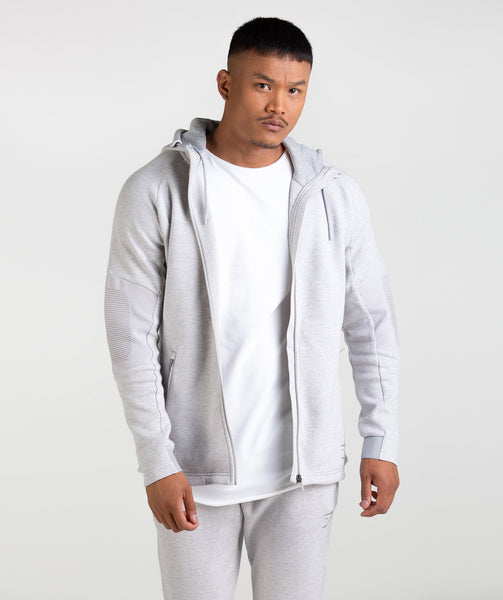 Gymshark Ozone Zip Up Hoodie - Light Grey Marl 4