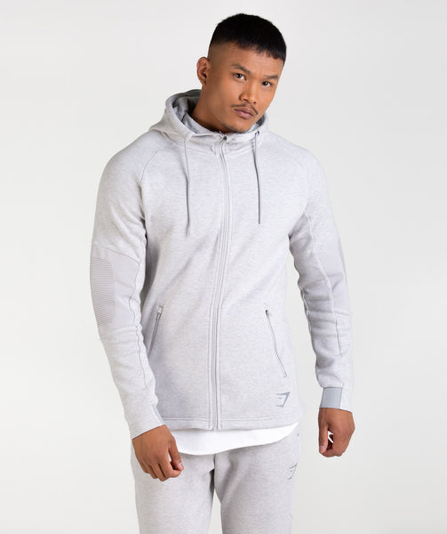 Gymshark Ozone Zip Up Hoodie - Light Grey Marl 3