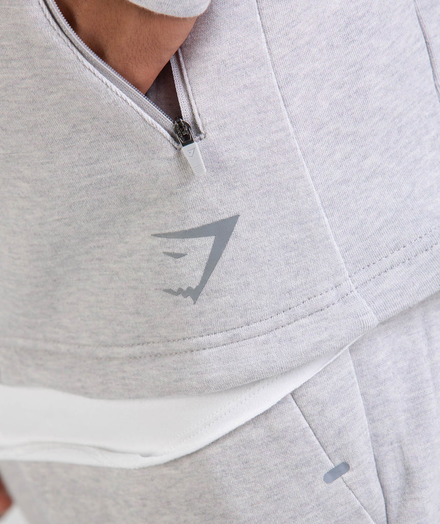Gymshark Ozone Zip Up Hoodie - Light Grey Marl 6