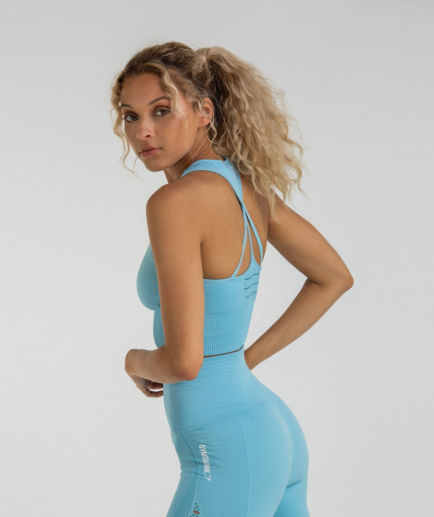Gymshark Energy Seamless Crop Vest - Sky Blue 2