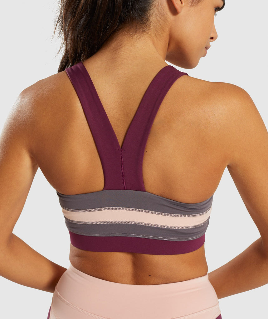 Gymshark Illusion Sports Bra - Dark Ruby/Blush Nude/Slate Lavender 5