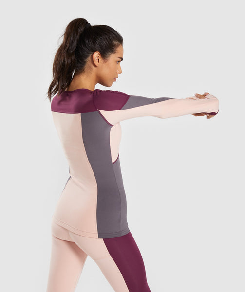 Gymshark Illusion Long Sleeve Top - Dark Ruby/Blush Nude/Slate Lavender 1