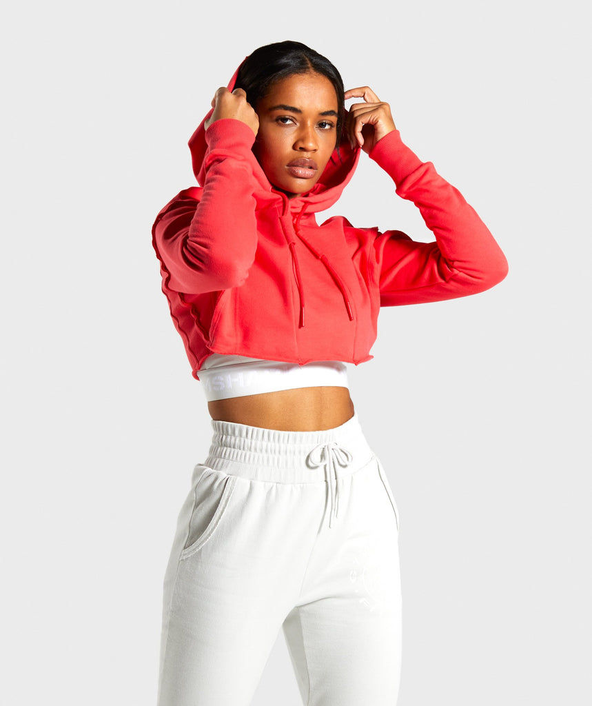 Gymshark Legacy Fitness Super Cropped Hoodie - Red 1