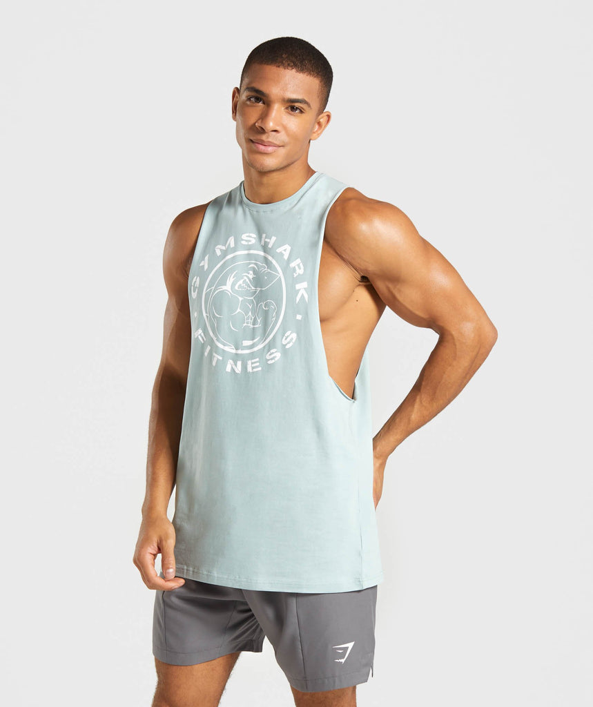 Gymshark Legacy Drop Armhole Tank - Light Blue/White 1