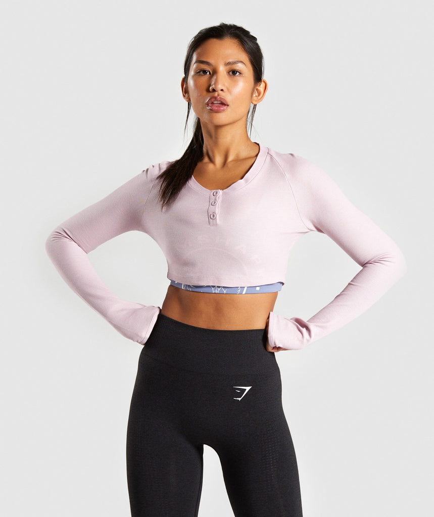 Gymshark Legacy Fitness Long Sleeve Crop Top - Washed Lavender 1