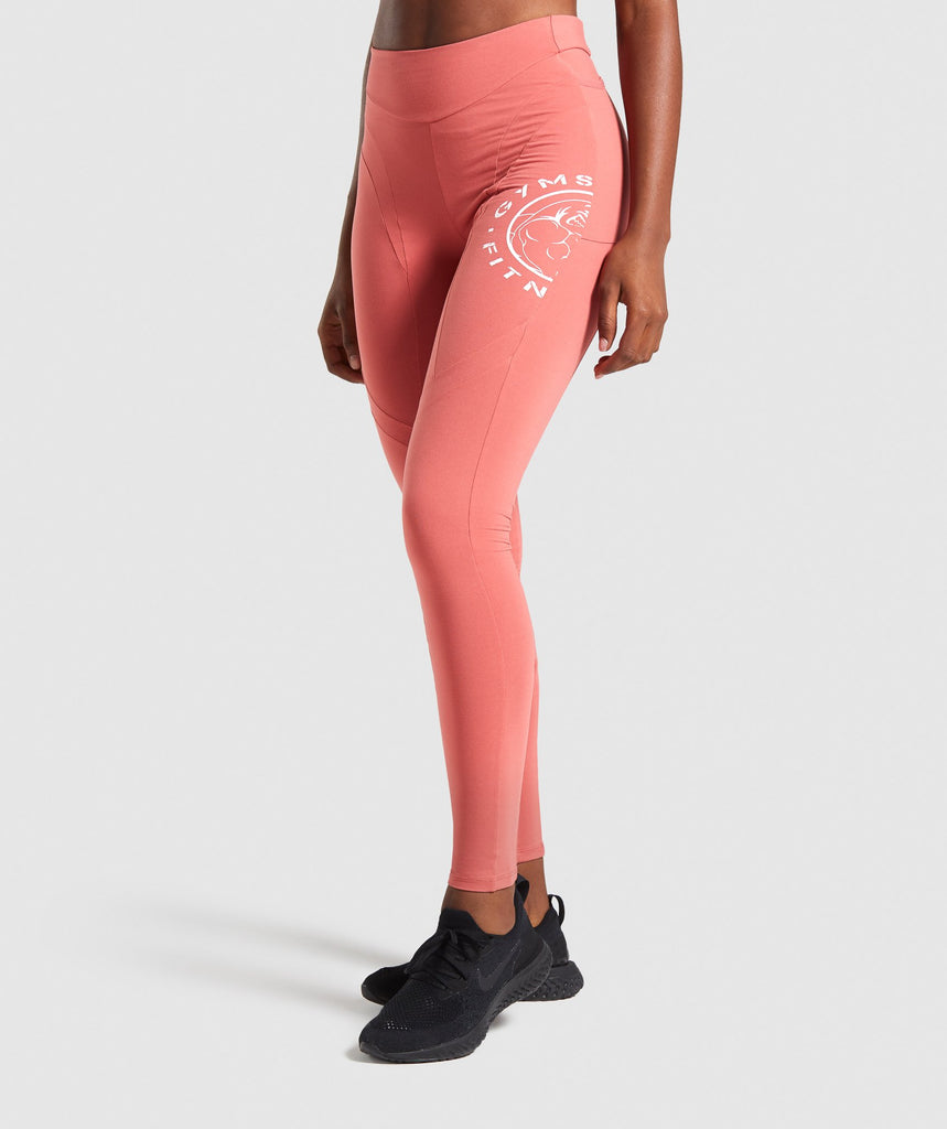 Gymshark Legacy Fitness Panel Leggings - Brick Red 1