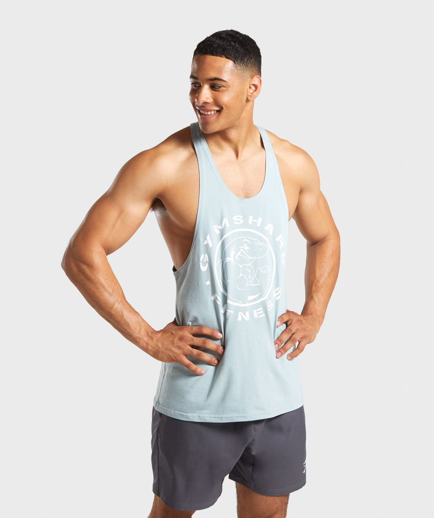 Gymshark Legacy Stringer - Light Blue/White 1