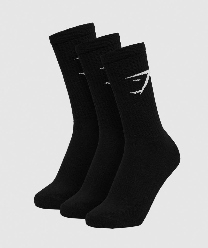 Gymshark Mens Crew Socks (3pk) - Black 1