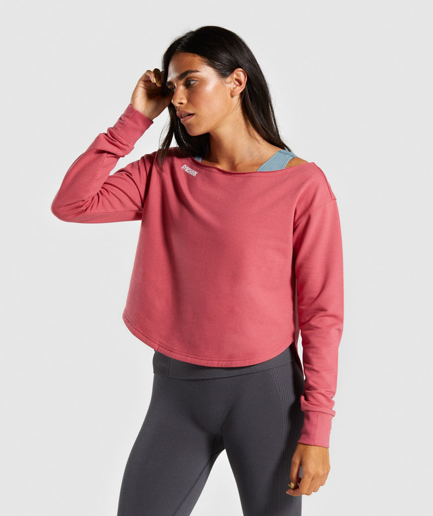 Gymshark Power Down Long Sleeve Top - Rose Slate 1
