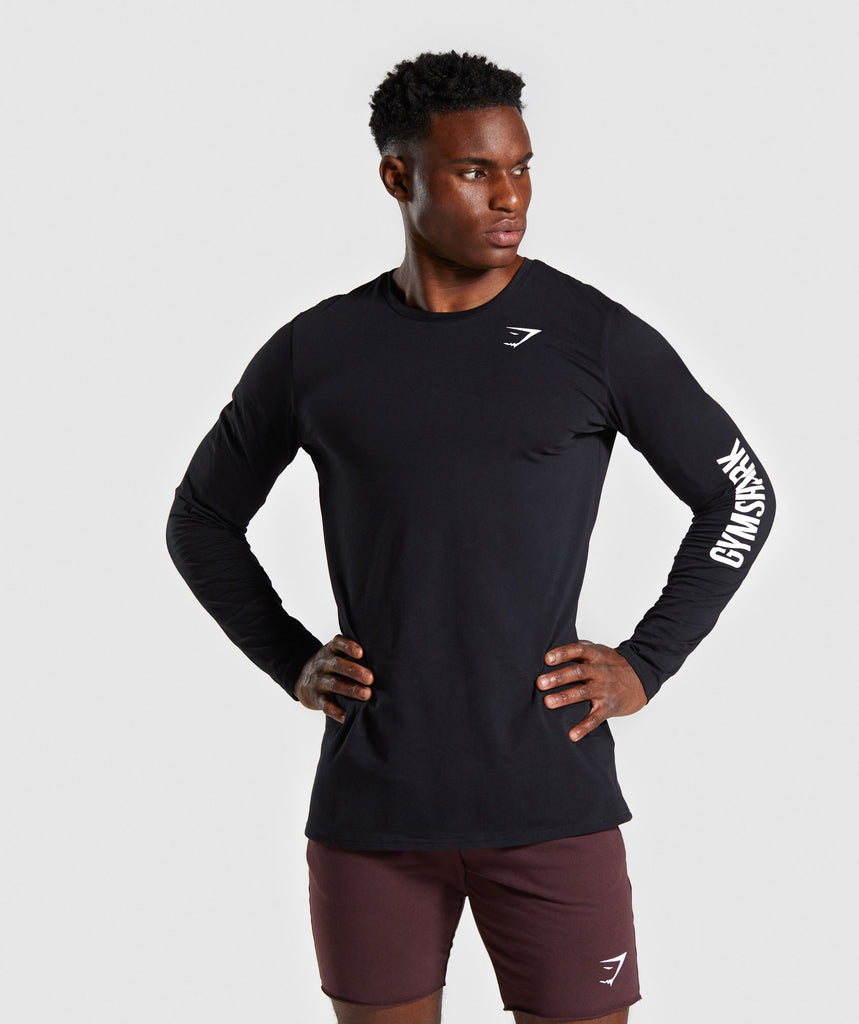 Gymshark Quote Long Sleeve T-shirt - Black 1