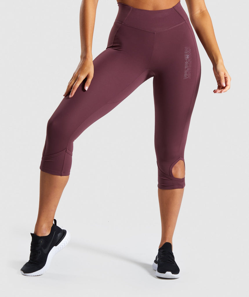 Gymshark Studio Cropped Leggings - Berry Red 1