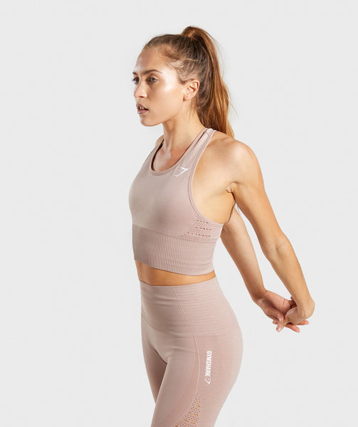 Gymshark Energy Seamless Crop Vest - Taupe 2