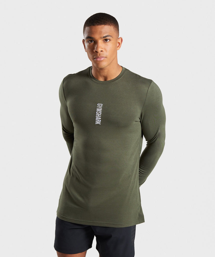 Gymshark Shadow Long Sleeve T-Shirt - Dark Green 1