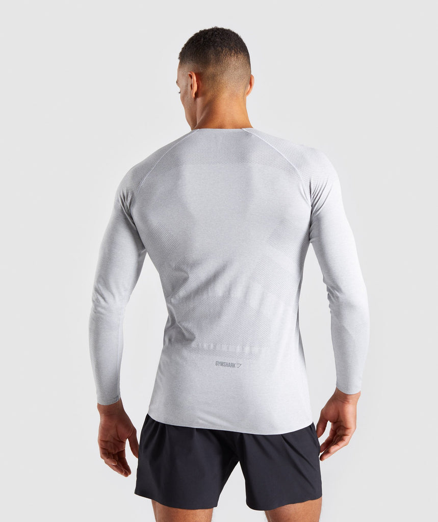 Gymshark Shadow Seamless Long Sleeve T-Shirt - Light Grey Marl 2