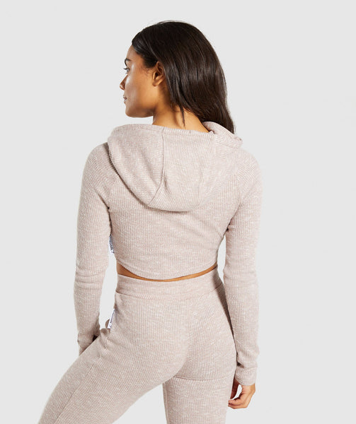 Gymshark Slounge Cropped Hoodie - Taupe Marl 1