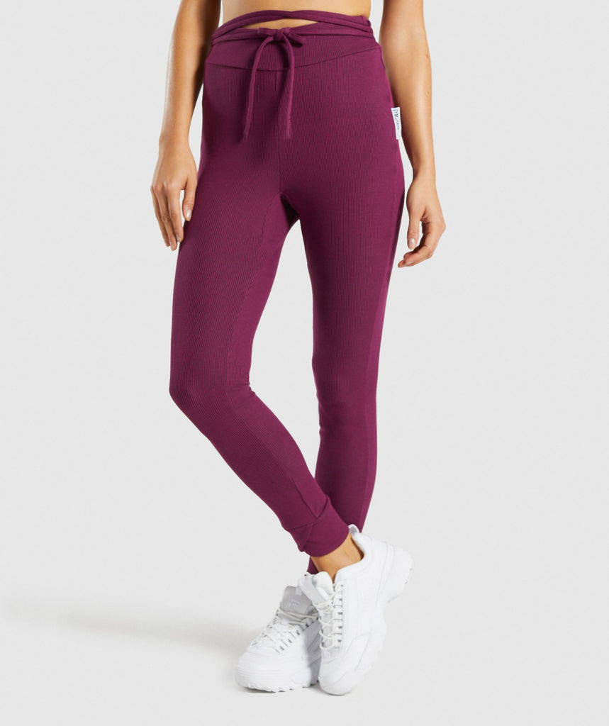 Gymshark Slounge Ribbon Bottoms - Dark Ruby Marl 1