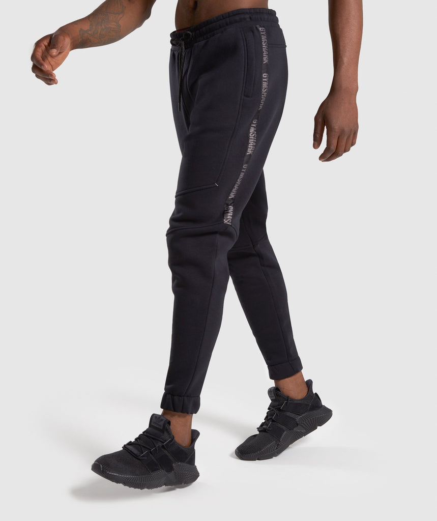 Gymshark Taped Joggers - Black 1