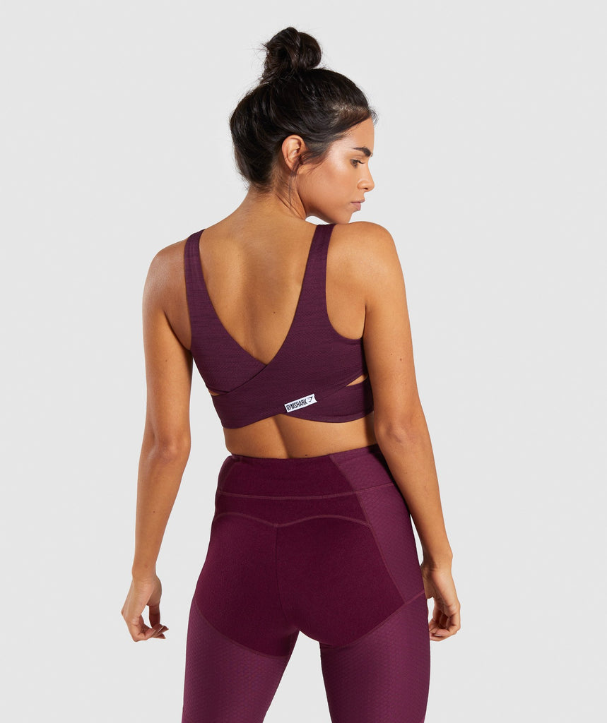 Gymshark True Texture Sports Bra - Dark Ruby 1
