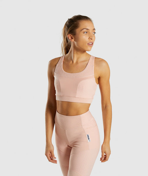 Gymshark True Texture Sports Bra - Blush Nude 1