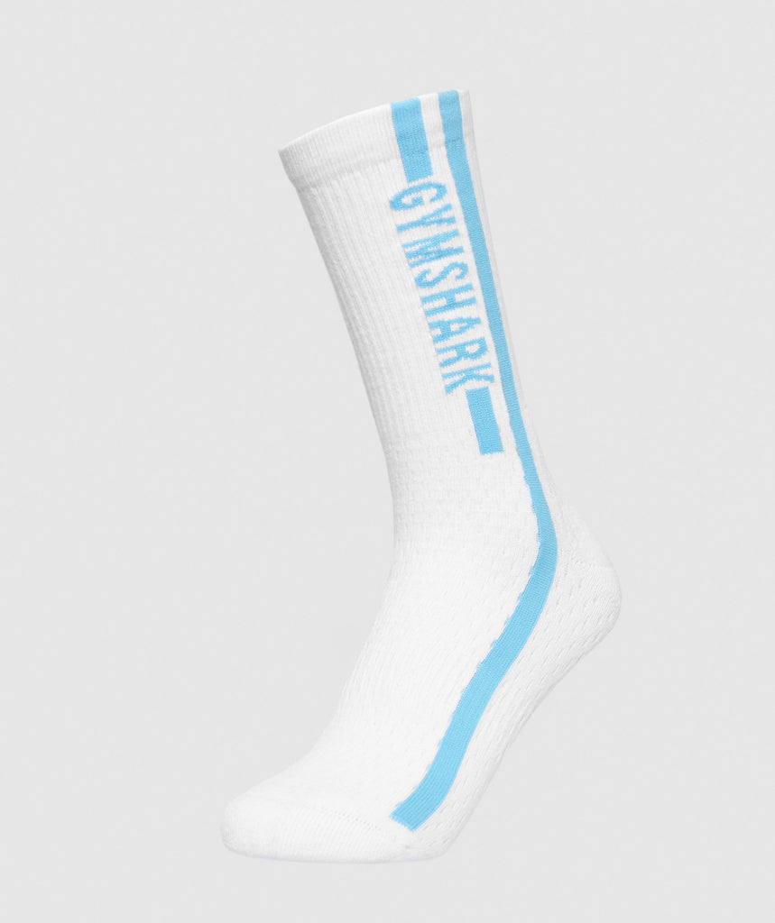 Gymshark Unisex Side Stripe Socks (1pk) - White/Dusky Teal 1
