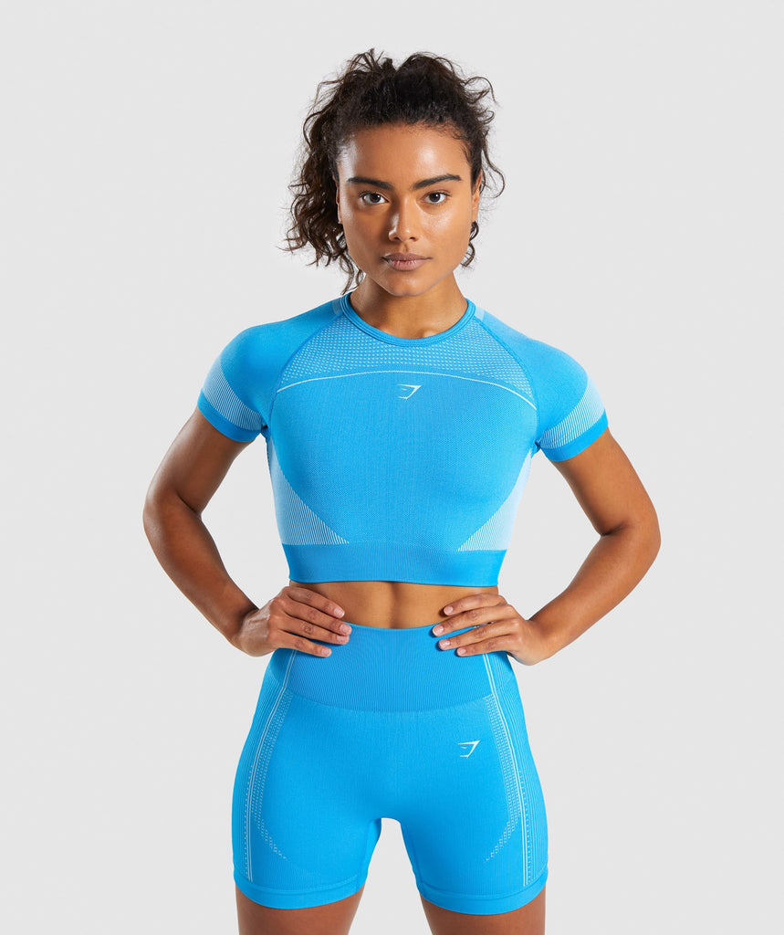 Gymshark Ultra Seamless Crop Top - Blue 1