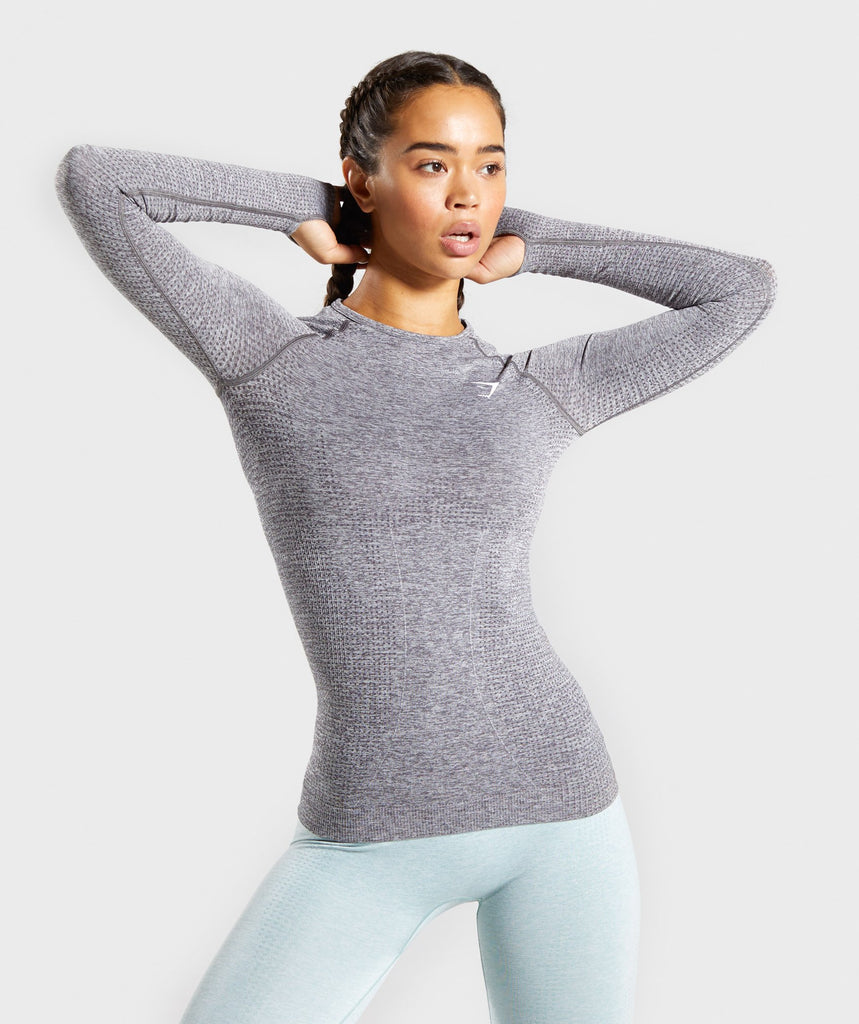 Gymshark Vital Seamless Long Sleeve Top - Smokey Grey Marl 1