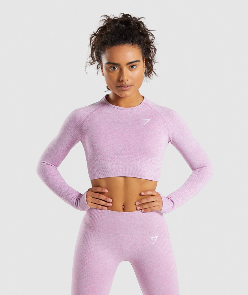 Gymshark Vital Seamless Long Sleeve Crop Top - Pink 1