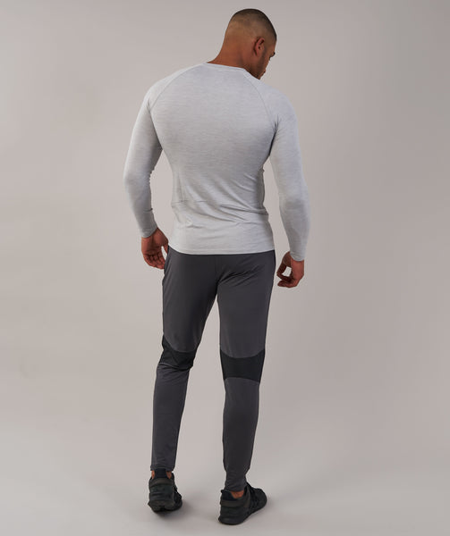 Gymshark Apex Long Sleeve T-Shirt - Light Grey Marl 1