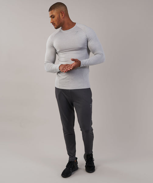 Gymshark Apex Long Sleeve T-Shirt - Light Grey Marl 4