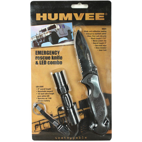 HUMVEE EMERGENCY RESCUE KNIFE & LED COMBO - BLACK