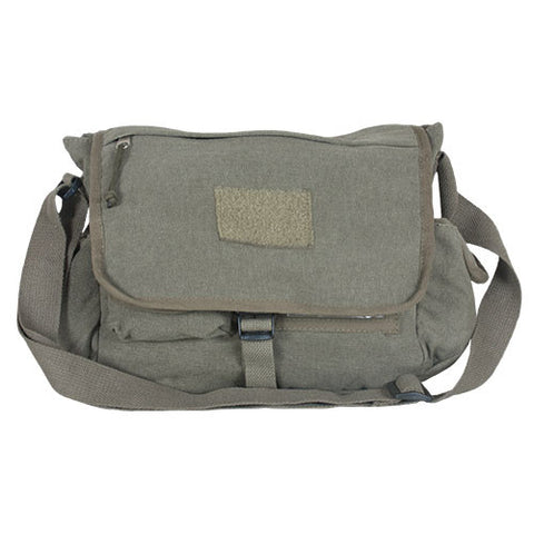 RETRO MESSENGER BAG W/PLAIN FLAP - OLIVE DRAB