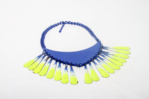 Blue and Yellow Metal necklace