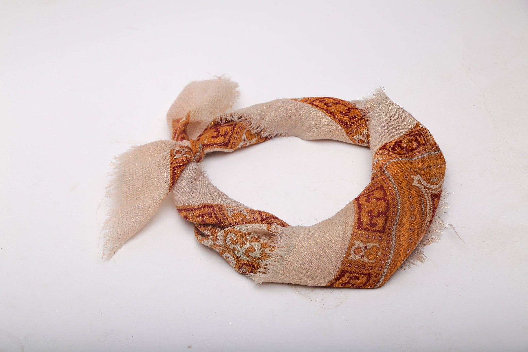 Cream and Gold Print Scarf
