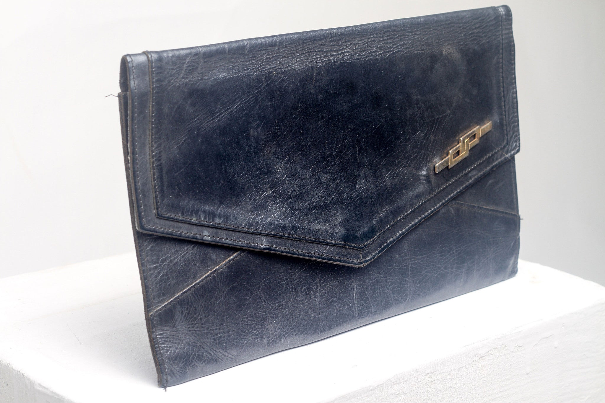 Navy Blue Leather Clutch