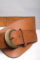 Tan Brown Leather Belt with Floral Print