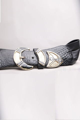 Black Vintage Belt with Gold Buckle
