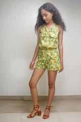 Yellow Floral Sleevess Top and Shorts