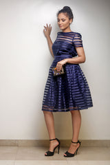 Navy Chiffon Top and Full Flare Skirt