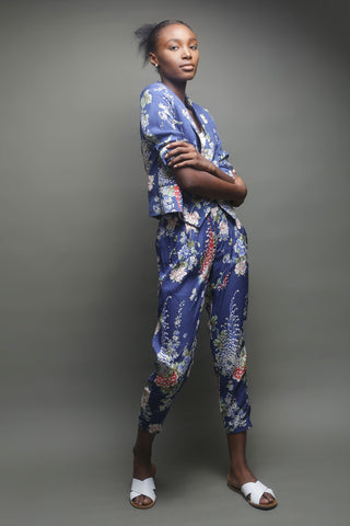 Blue Floral Jacket and Pants Co-ord