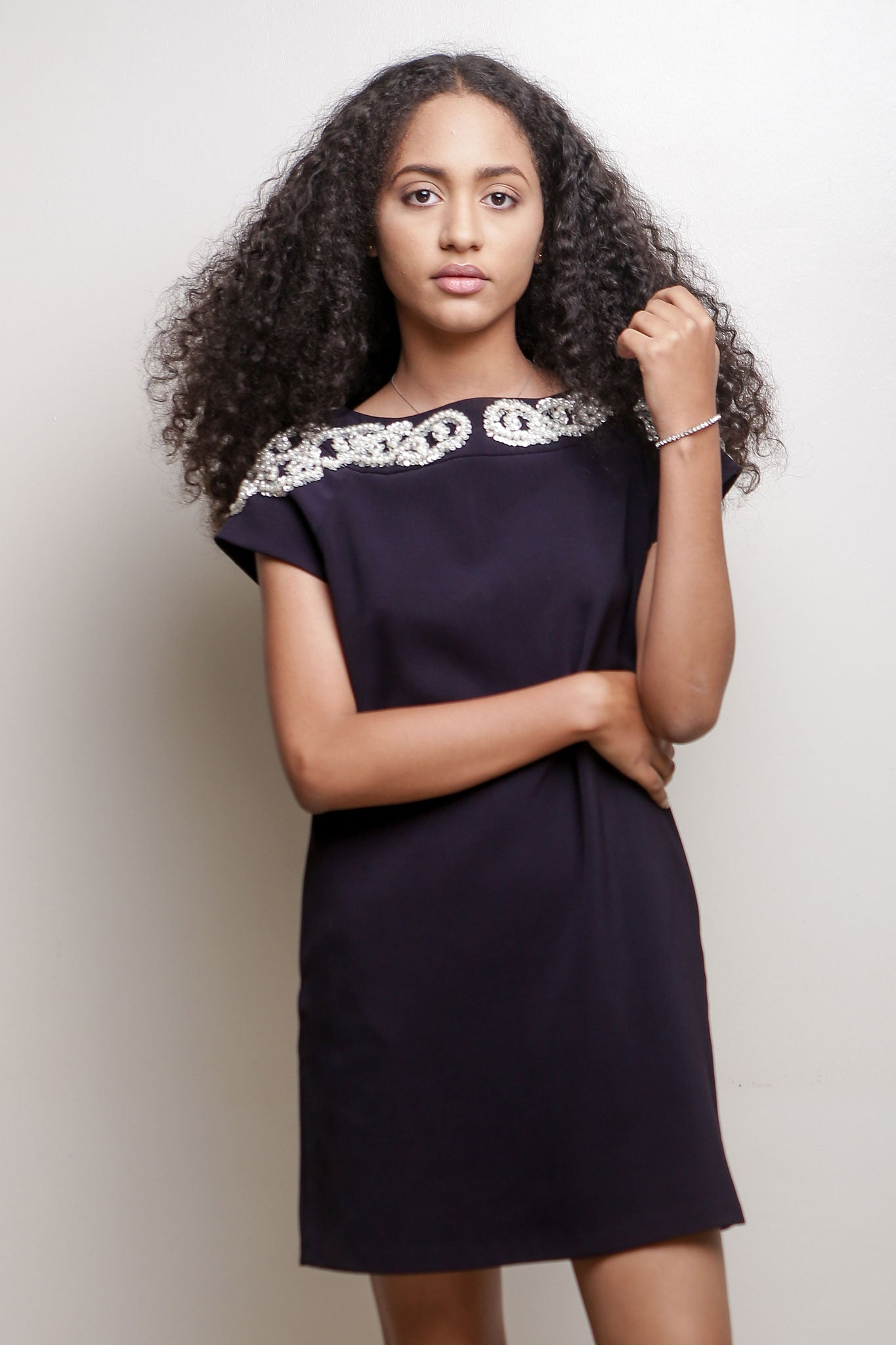 Navy Blue Shift with Embellished Neckline