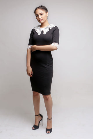 Black Knee Length Dress with A White Lace Neckline