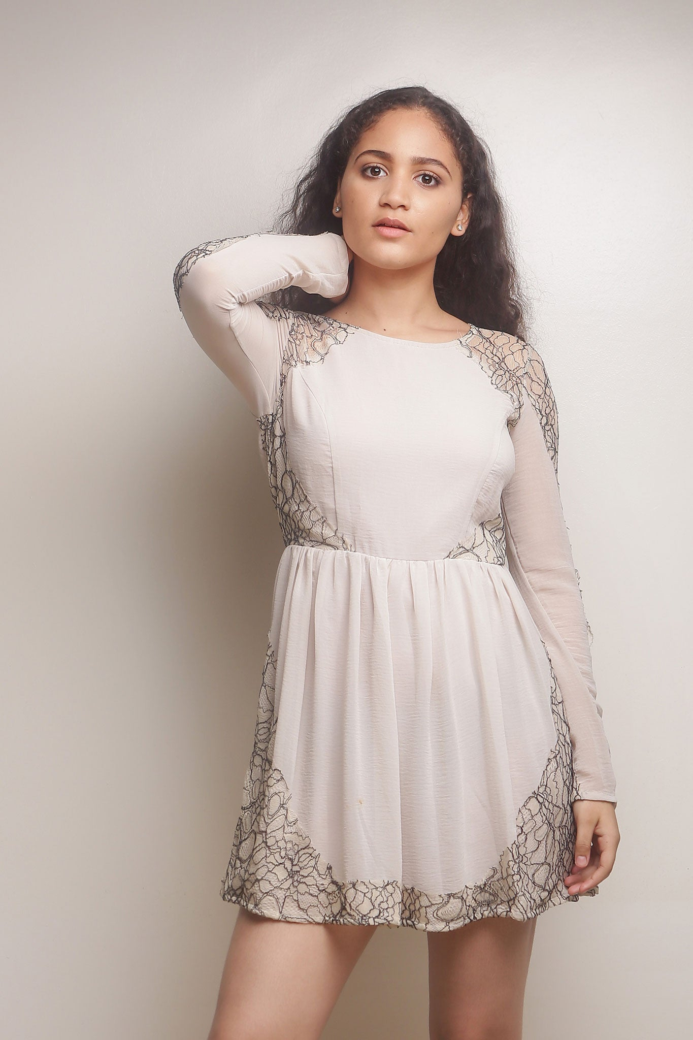 Long Sleeve Cream Dress with Black Lace Sleeves